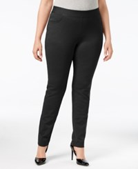 Inc International Concepts Plus Size Tummy Control Ponte Skinny Pants Only At Macy's Deep Black