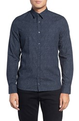 J. Lindeberg Men's Lindebert Daniel Pop Print Slim Fit Sport Shirt Midnight Melange