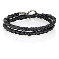 Tod's Men's Braided Leather Double Wrap Bracelet Black Blue Black Blue