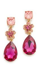 Oscar De La Renta Flower Drop Pave Earrings Fuchsia
