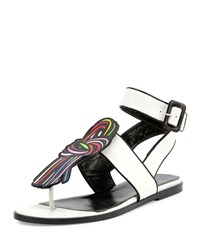 Pierre Hardy Scoubi Pop Flat Leather Sandal White Men's Size 40.5B 10.5B Multi Black White