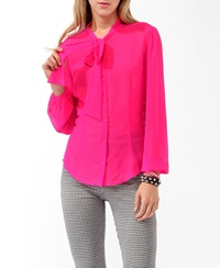 Forever 21 Sheer Button Up Shocking Pink