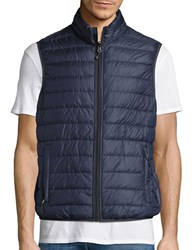 Hawke And Co Packable Water Resistant Reversible Quilted Vest Navy Heather