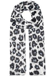 Lily And Lionel Isla Leopard Print Modal Blend Scarf White