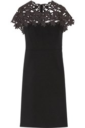 Raoul Clementine Lace Paneled Cotton Blend Mini Dress Black