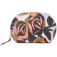 Fossil Coated Canvas Domed Cosmetics Bag Rose Print