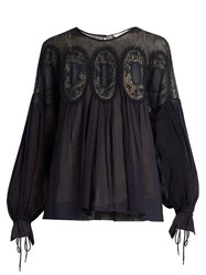 Chloe Medallion Lace Long Sleeved Blouse Navy