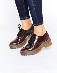 Monki Lace Up Shoe Burgundy Red