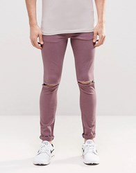 Asos Super Skinny Jeans With Knee Rips In Purple Purple