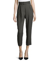 Escada High Waist Pleated Front Cropped Pants Granite