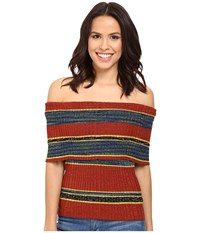 Free People Carly Cowl Off The Shoulder Stripe Sweater Top Red Combo Women's Sweater
