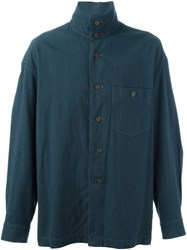 Issey Miyake Vintage Stand Up Collar Shirt Blue