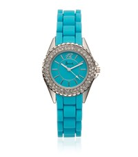 Harrods Diamante Watch Unisex Bright Blue