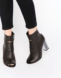 Miista Heeled Boot With Open Toe Black