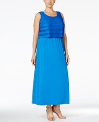 Ny Collection Plus Size Popover Maxi Dress Blue