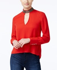 Xoxo Juniors' Embellished High Low Blouse Red