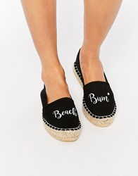 Asos Jelly Bean Beach Bum Slogan Espadrilles Beach Bum Black