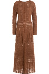 Alberta Ferretti Long Cardigan With Mohair Brown