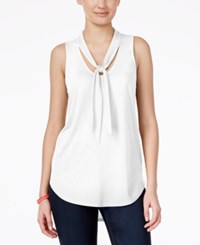 Almost Famous Juniors' Sleeveless Tie Neck Blouse White
