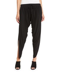 Haute Hippie Shirred Drawstring Harem Pants Black