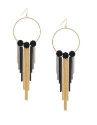 Bcbgeneration Tassel Town Brass Fringe Hoop Earrings Two Tone