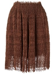 Ermanno Scervino Plisse Pleated Lace Skirt Brown