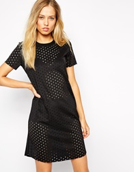Supertrash Perforated Dress With High Neck Black