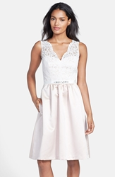 Embellished Lace Contrast Satin Fit And Flare Dress Ivory Lace Cameo