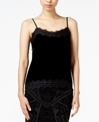 Bar Iii Lace Trim Velvet Camisole Only At Macy's Deep Black