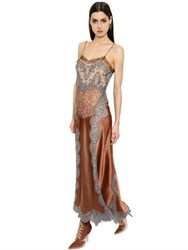 Alberta Ferretti Silk Satin Dress W Lace Inserts