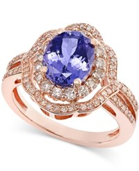 Macy's Oval Tanzanite 1 3 4 Cttw And Diamond 1 2 Cttw Ring In 14K Rose Gold