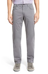 Men's Brax Flat Front Stretch Cotton Trousers Grey