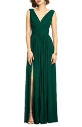 Dessy Collection Women's Surplice Ruched Chiffon Gown Hunter