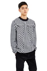 Esprit By Opening Ceremony Checker Print Woven Top Black White