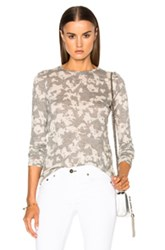 Proenza Schouler Printed Jersey Long Sleeve Tee In Gray Floral Gray Floral