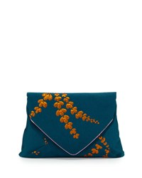 Dries Van Noten Lilly Jacquard Envelope Clutch Bag Petrol