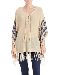California Moonrise Lace Up Knit Poncho Sand