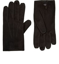 Barneys New York Men's Suede Gloves Black
