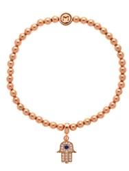 Melissa Odabash Rose Gold Crystal Hamsa Ball Bracelet Rose Gold