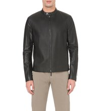 Armani Collezioni Textured Front Leather Jacket Black