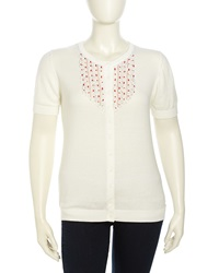 Michael Simon Short Sleeve Beaded Woven Cardigan Women's