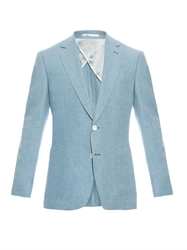 Gieves And Hawkes Single Breasted Linen Blend Blazer