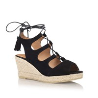 Kanna Luna High Wedge Heel Sandals Black