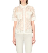Allsaints Embroidered Lace Sheer Shirt Chalk White