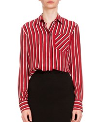 Altuzarra Long Sleeve Striped Silk Blouse Black Red White Blk Red Wht