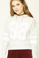Forever 21 88 Graphic Marled Knit Hoodie Heather Grey White
