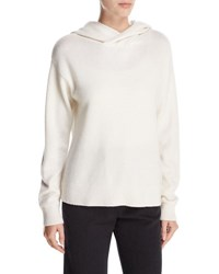 Vince Crossover Cashmere Wool Hoodie Sweater Winter White