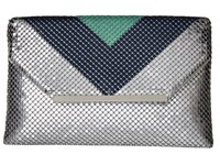 Jessica Mcclintock Keria Color Block Envelope Clutch Teal Navy Silver Clutch Handbags Multi