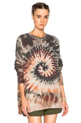 Valentino Oversized Long Sleeve Tie Dye Pullover In Green Ombre And Tie Dye