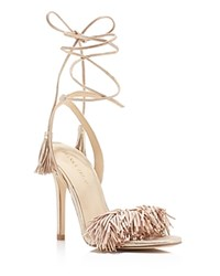 Ivanka Trump Hettie Metallic Fringe Ankle Tie High Heel Sandals Gold
